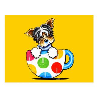Biewer Yorkie Polka Dot Cup Postcard