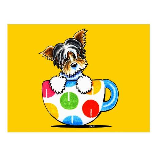 Biewer Yorkie Polka Dot Cup Post Card