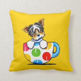 Biewer Yorkie Polka Dot Cup Throw Pillow