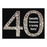 Big 4-0 Birthday Glitter-Look 40th Party 11 Cm X 16 Cm Invitation Card