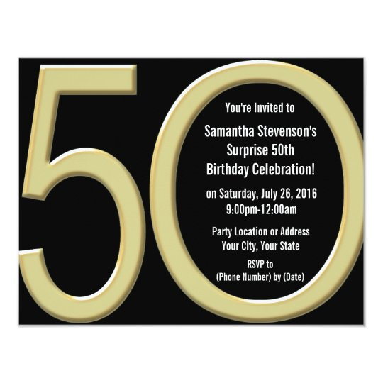 Big 5-0 Gold Party Invitations