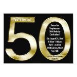 Big 5-0 Metallic-Look Gold 50th Birthday Party 11 Cm X 16 Cm Invitation Card