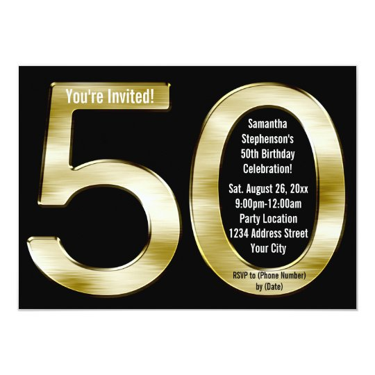 Big 5-0 Metallic-Look Gold 50th Birthday Party Card