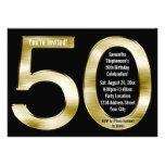 Big 5-0 Metallic-Look Gold 50th Birthday Party Custom Announcement