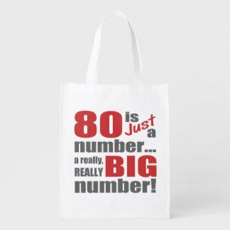 Big 80th Birthday Reusable Grocery Bag