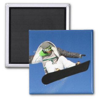 Big Air Snowboarding Square Magnet