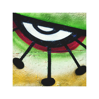 Big and colorful eye graffitti. stretched canvas print