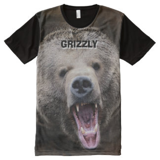 Big and Wild Grizzly Bear All-Over Print T-Shirt