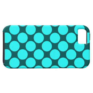 Big Aqua Polka Dots on Teal Tough iPhone 5 Case