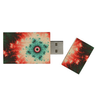 Big Bang - red and blue fractal explosion Wood USB 3.0 Flash Drive