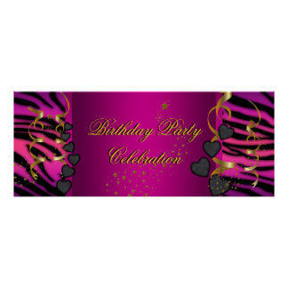 big Banner Birthday Party Celebration Pink Poster