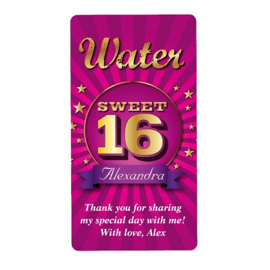 Big Bash Pink Sweet 16 Water Label Shipping Label
