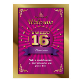 Big Bash Pink Sweet 16 Welcome Poster