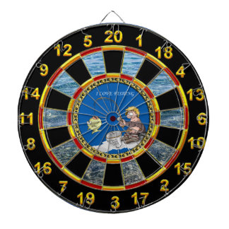 Big bass fisherman fishing on the ice dartboard