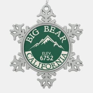 Big Bear Lake California Skiing Boating Snowflake Pewter Christmas Ornament