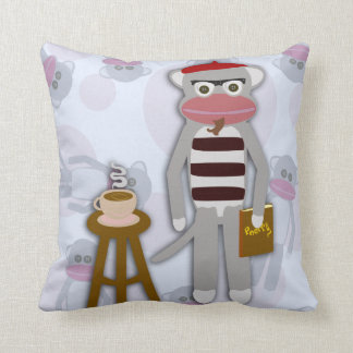 Big Beatnik Sock Monkey Throw Pillow