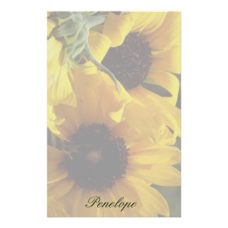 Big Beautiful Yellow Sunflowers and Your Name Custom Stationery