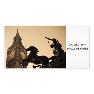 Big Ben and Boadicea statue Personalized Photo Card