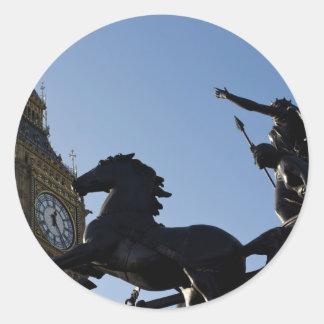 Big Ben and Boadicea Statue Round Sticker
