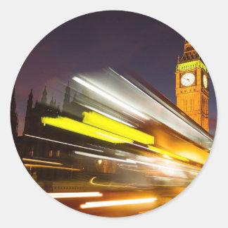 Big Ben and bus Round Sticker