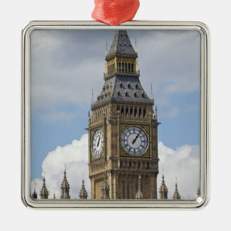 Big Ben and Houses of Parliament, London, Silver-Colored Square Decoration