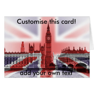 Big Ben and Houses of Parliament, Union Jack Greeting Card