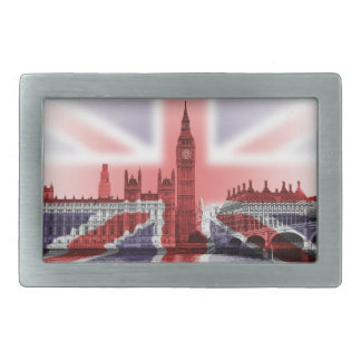 Big Ben and Houses of Parliament, Union Jack Rectangular Belt Buckle