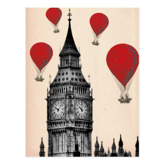 Big Ben and Red Hot Air Balloons 2 Postcard