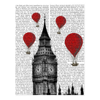 Big Ben and Red Hot Air Balloons Postcard