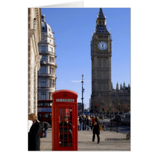 Big Ben and Red Telephone box in London Card