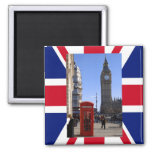 Big Ben and Red Telephone box in London Square Magnet