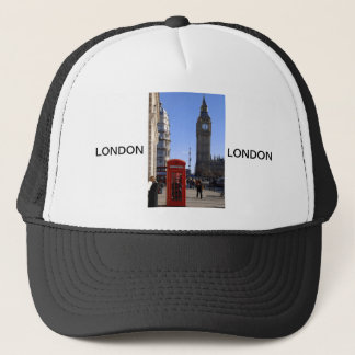 Big Ben and Red Telephone box in London Trucker Hat