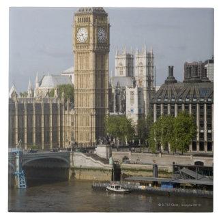 Big Ben and Thames River Large Square Tile