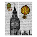 Big Ben and Vintage Hot Air Balloons Poster