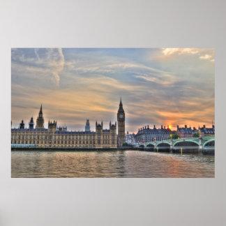 Big Ben and Westminster Bridge HDR poster