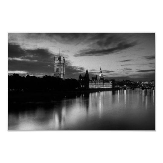 Big Ben and Westminster in black and white