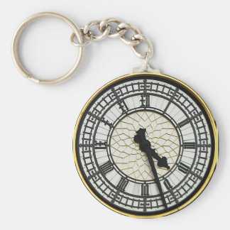 Big Ben Clock Face Basic Round Button Key Ring