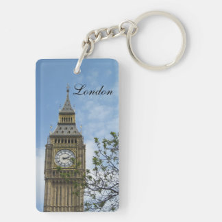 Big Ben Clock Tower London England Double-Sided Rectangular Acrylic Key Ring