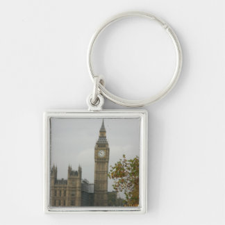 Big Ben House of Commons Silver-Colored Square Key Ring