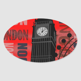 Big Ben London Collage Red Background Modern Oval Stickers