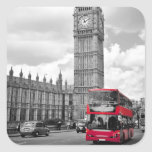 Big Ben London Square Stickers