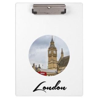 Big Ben, Red Bus, London Clipboards