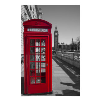 Big Ben Red Telephone box Poster
