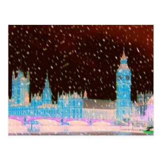 Big Ben Westminster Abbey London Red Skies Post Card