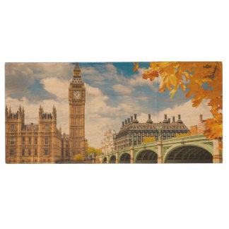 Big Ben With Autumn Leaves, London Wood USB 2.0 Flash Drive