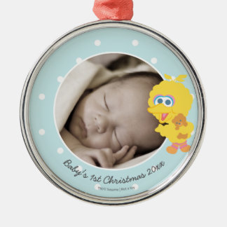Big Bird | Baby's First Christmas - Add Your Name Silver-Colored Round Decoration