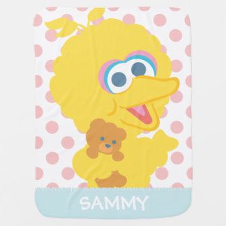 Big Bird Holding Teddy Bear | Add Your Name Baby Blanket