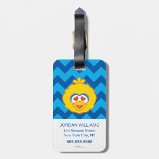 Big Bird Smiling Face with Heart-Shaped Eyes 2 Bag Tag