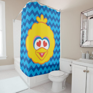 Big Bird Smiling Face with Heart-Shaped Eyes Shower Curtain