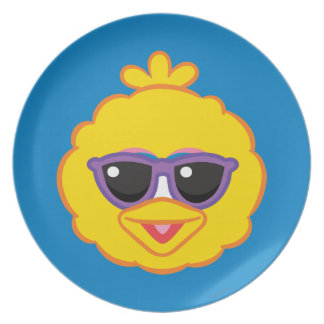 Big Bird Smiling Face with Sunglasses Plate